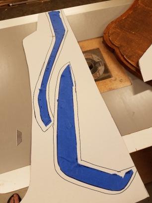 Cutting the patterns in cardboard